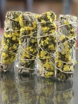 White California Sage + Yellow Flowers Smudge Stick