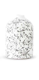 Cream Ceramic Vase with Gray Vine Pattern