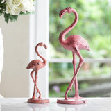 Weathered Flamingo Cast Iron Statues, 2 pieces