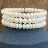Cultured Freshwater White Pearl Stretch Bracelet, 1 pc