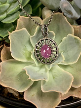 Pink Ruby + Pave Diamond Necklace, Darkened Sterling Silver, Lobster Clasp