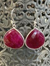 Ruby Drop Sterling Silver Earrings, French Wire
