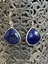 Blue Sapphire Drop Sterling Silver Earrings, French Wire