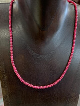 """Ruby Beaded Sterling Silver Necklace, 17"""""""