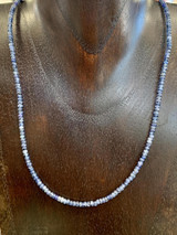 """Blue Sapphire Beaded Sterling Silver Necklace, 17"""""""