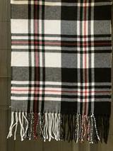 "White, Black + Red Plaid Stripe Cashmere Scarf, 72"" x 12.75"""