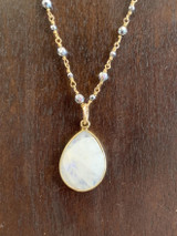 """Moonstone Drop + Silver Hematite 14k Gold Filled 36"""" Necklace, Lobster Clasp"""