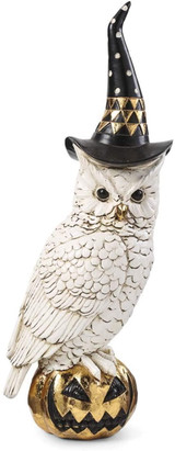 Owl with Witch Hat On Gold Jack O Lantern, Black and White (14 inch)