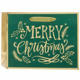 Merry Christmas Green Calligraphy, Medium Tote Bag