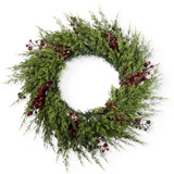 """30"""" Cypress Pine Wreath with Frosted Crimson Berries"""