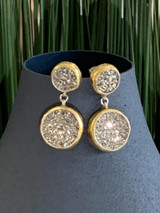 GURHAN Mystere Sterling Silver Earrings, Small, Drop with Druzy Quartz, 'kissed' with 24k Gold