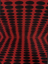 """Red+Black Polka Dot Reflection Cashmere Scarf, 11.5"""" x 72"""", Reversible"""