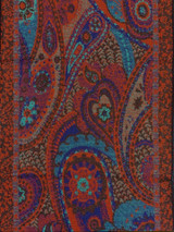 """Blue+Red Paisley Cashmere Scarf, 12.75"""" x 78"""", Reversible"""