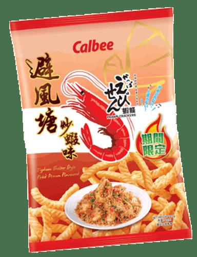CALBEE - Prawn Crackers HK Typhoon Pond Crab Flavor   卡樂B 大排檔風味 蝦條避風塘炒蝦味 90G