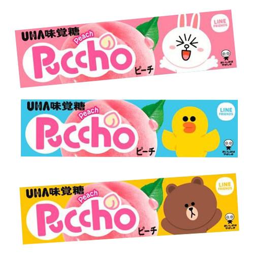 UHA Puccho Stick Candy Honeydew White Peach Flavor | 味覺糖 白桃味果肉條裝軟糖 50g 10Pcs [Line Friends]