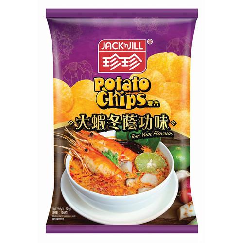 JACK N JILL Potato Chips Tom Yum Flavor   珍珍薯片 大蝦冬蔭功味 120g (重量級大包)
