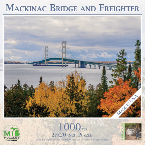 Mackinac Bridge and Freighter