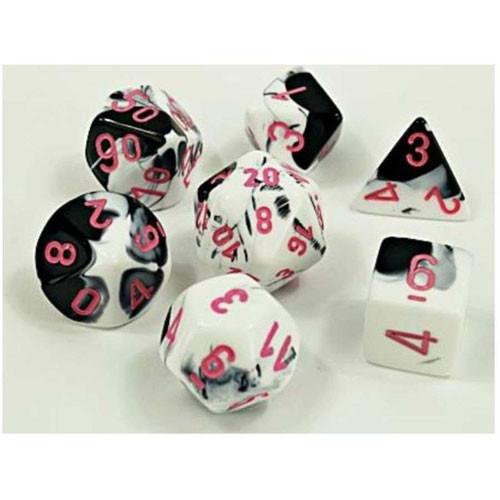 Dice 7ct. Gemini Black-White/Pink (Lab Dice)