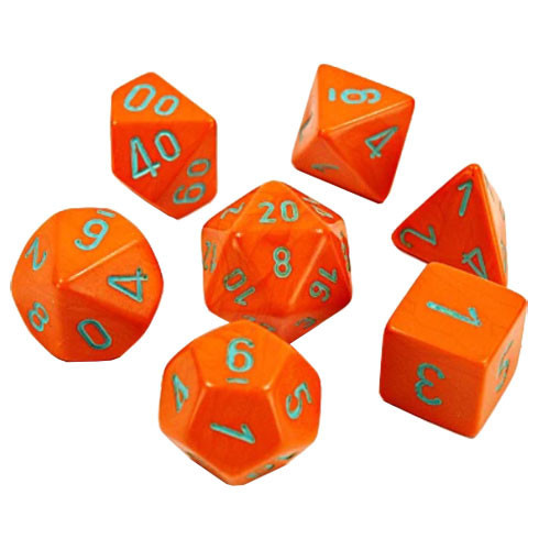 Dice 7ct. Heavy Orange/Turquoise (Lab Dice)