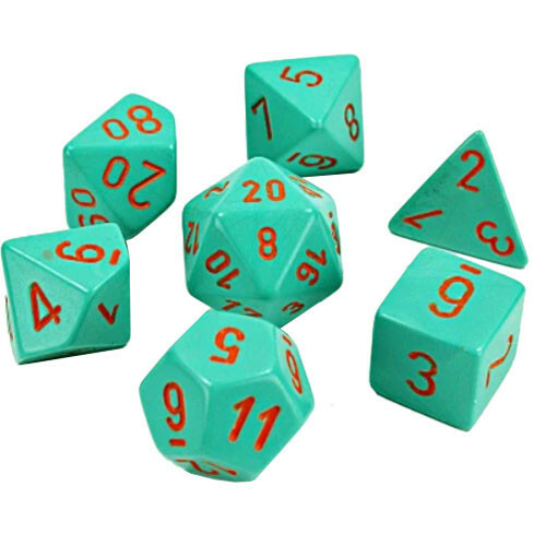 Dice 7ct. Heavy Turquoise/Orange (Lab Dice)