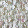 6mm Cup Sequins White Rainbow Iris Shiny Opaque