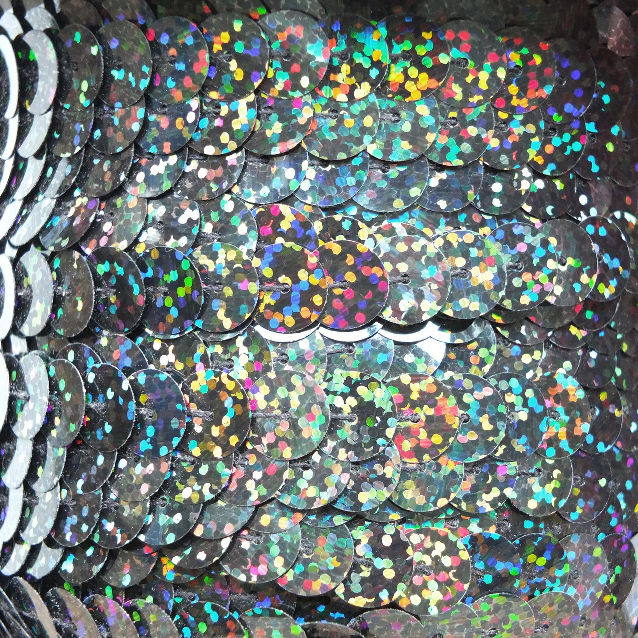 Sequin Trim 10mm Black Galactic Hologram Glitter Sparkle Metallic