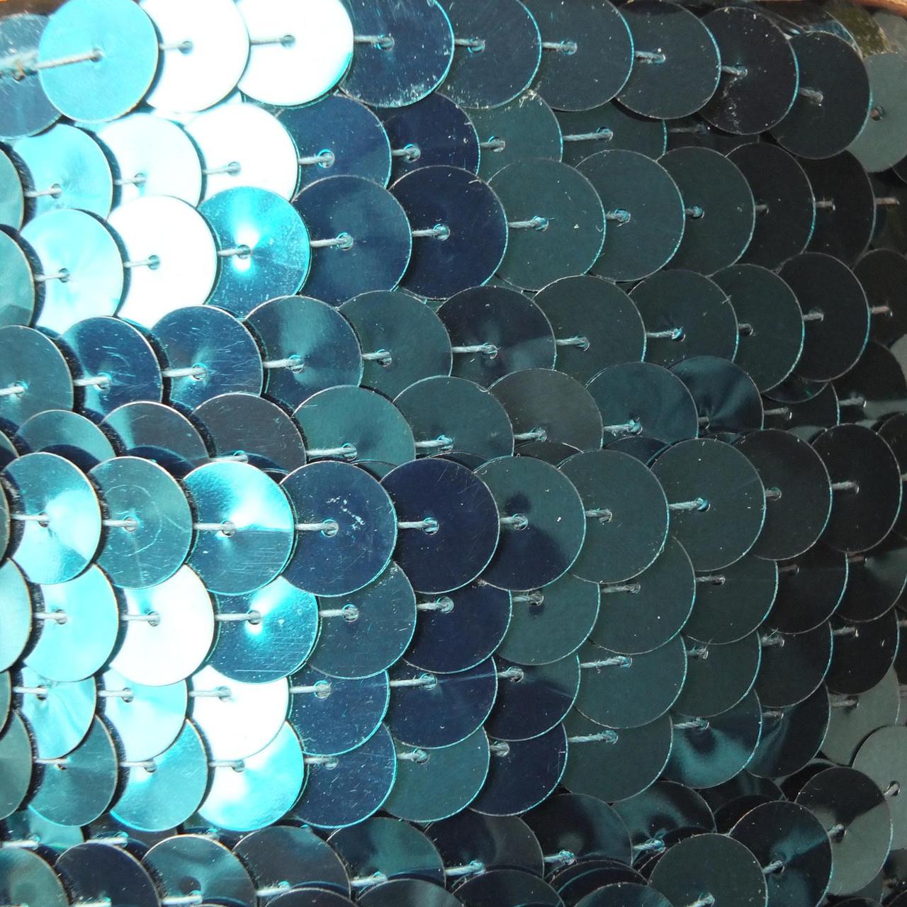 Sequin Trim 10mm Deep Turquoise Metallic