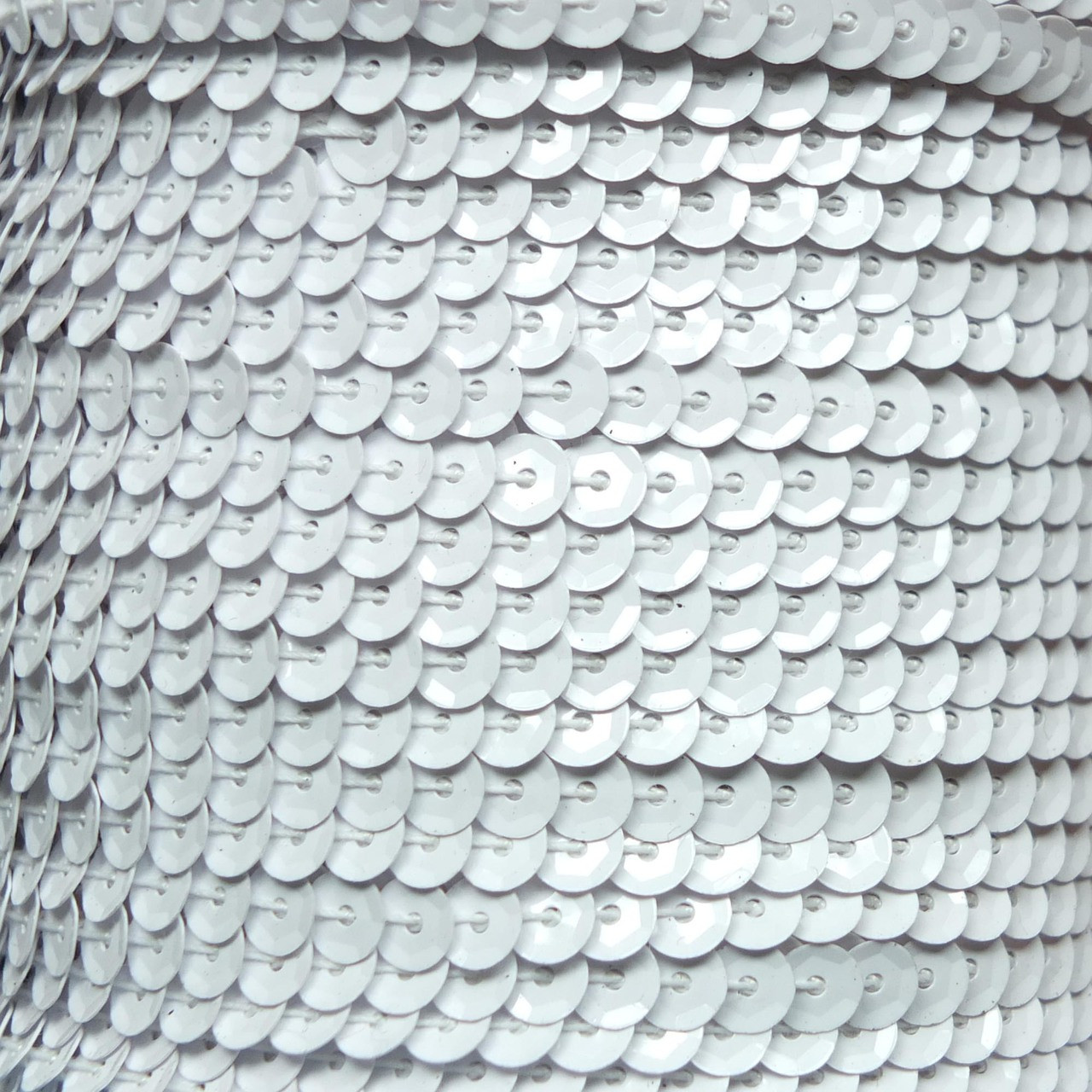 Sequin Trim 5mm Cup White Metallic