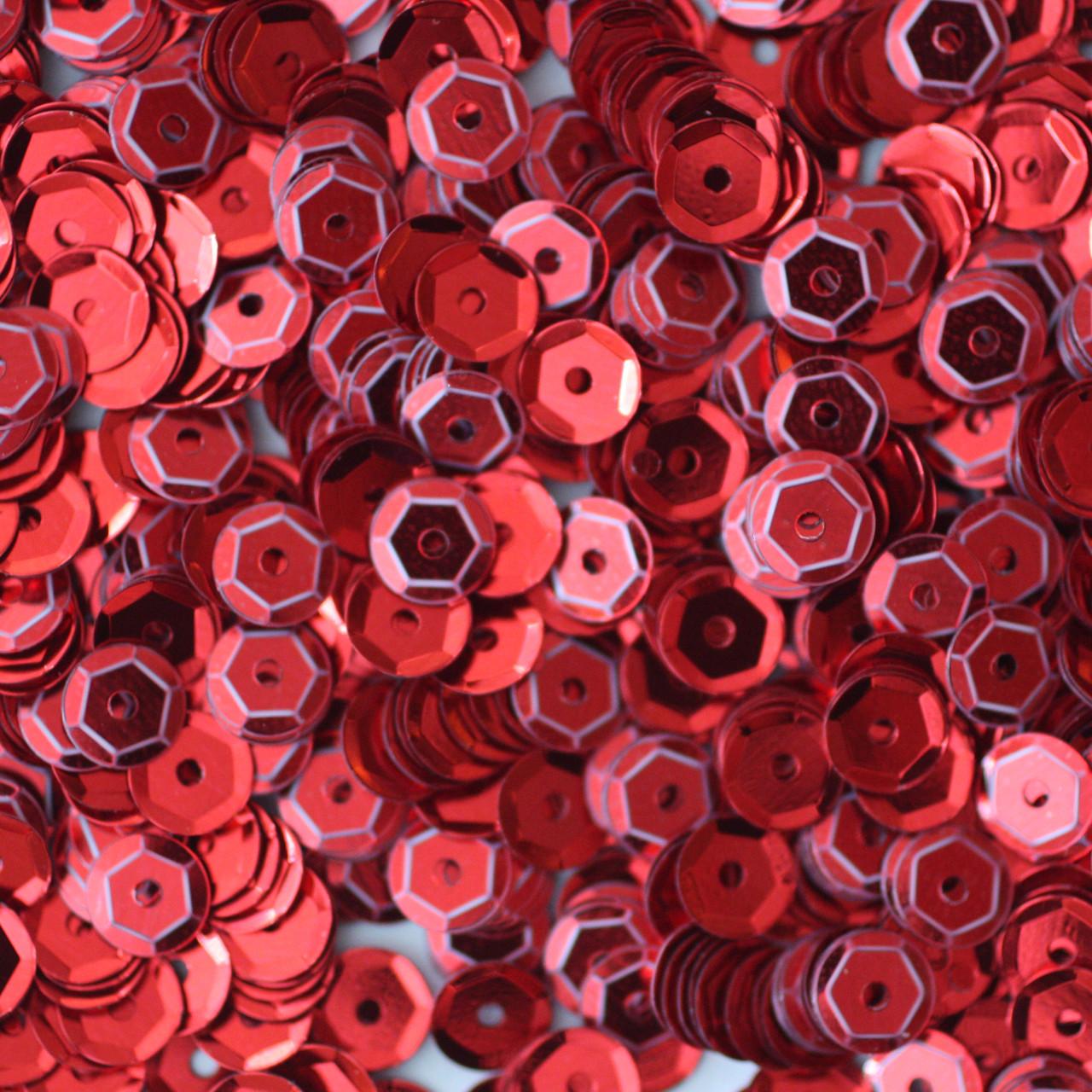 5mm Cup Sequins Red Metallic