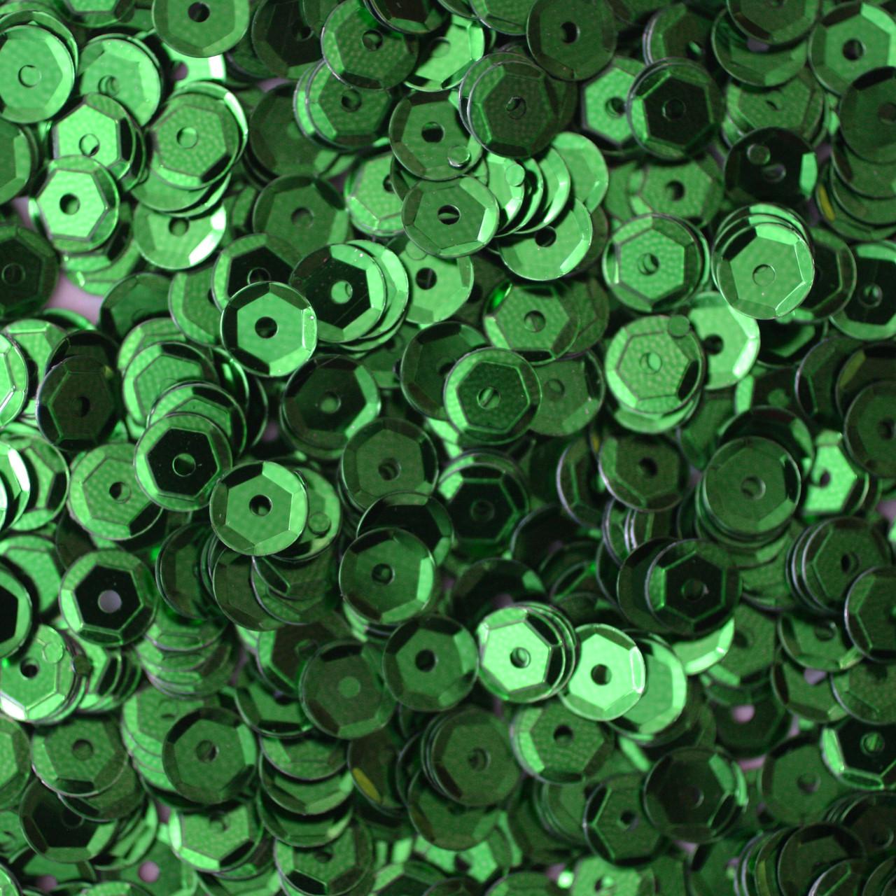5mm Cup Sequins Green Metallic