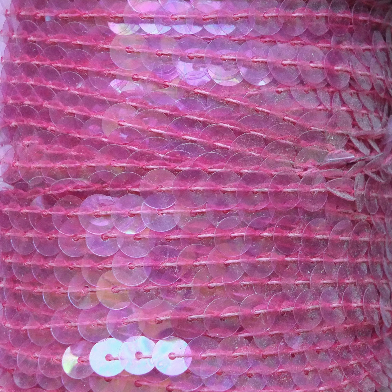 Sequin Trim 6mm French Pink Crystal Rainbow Iris Iridescent