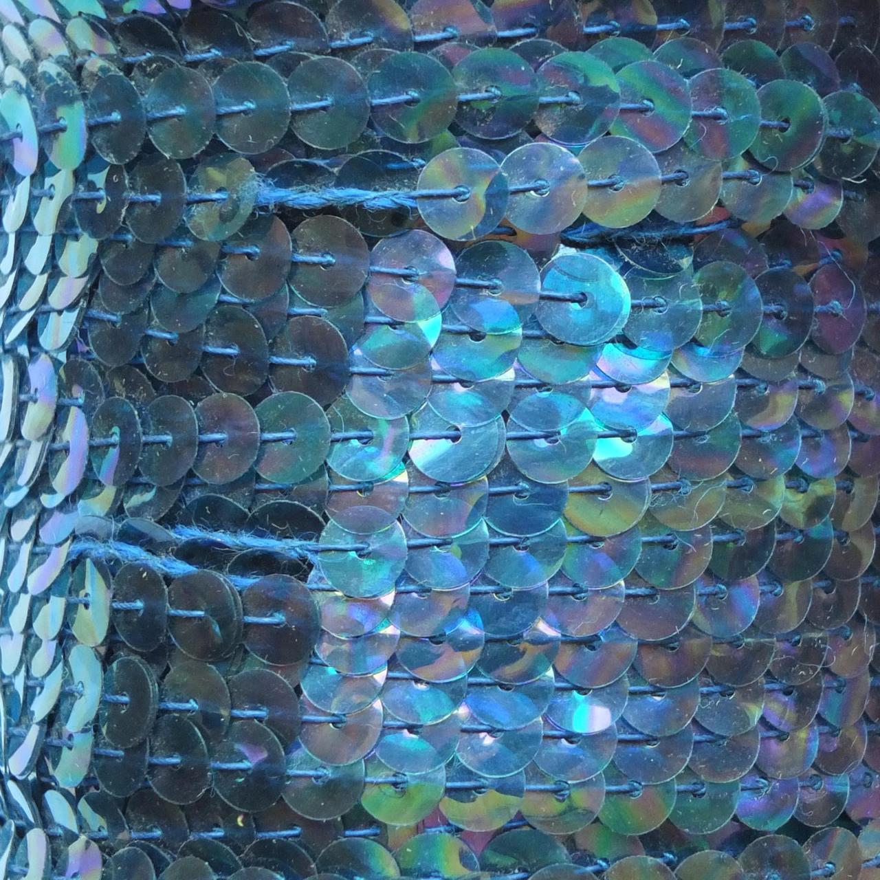Sequin Trim 6mm Aqua Blue Crystal Rainbow Iris Iridescent