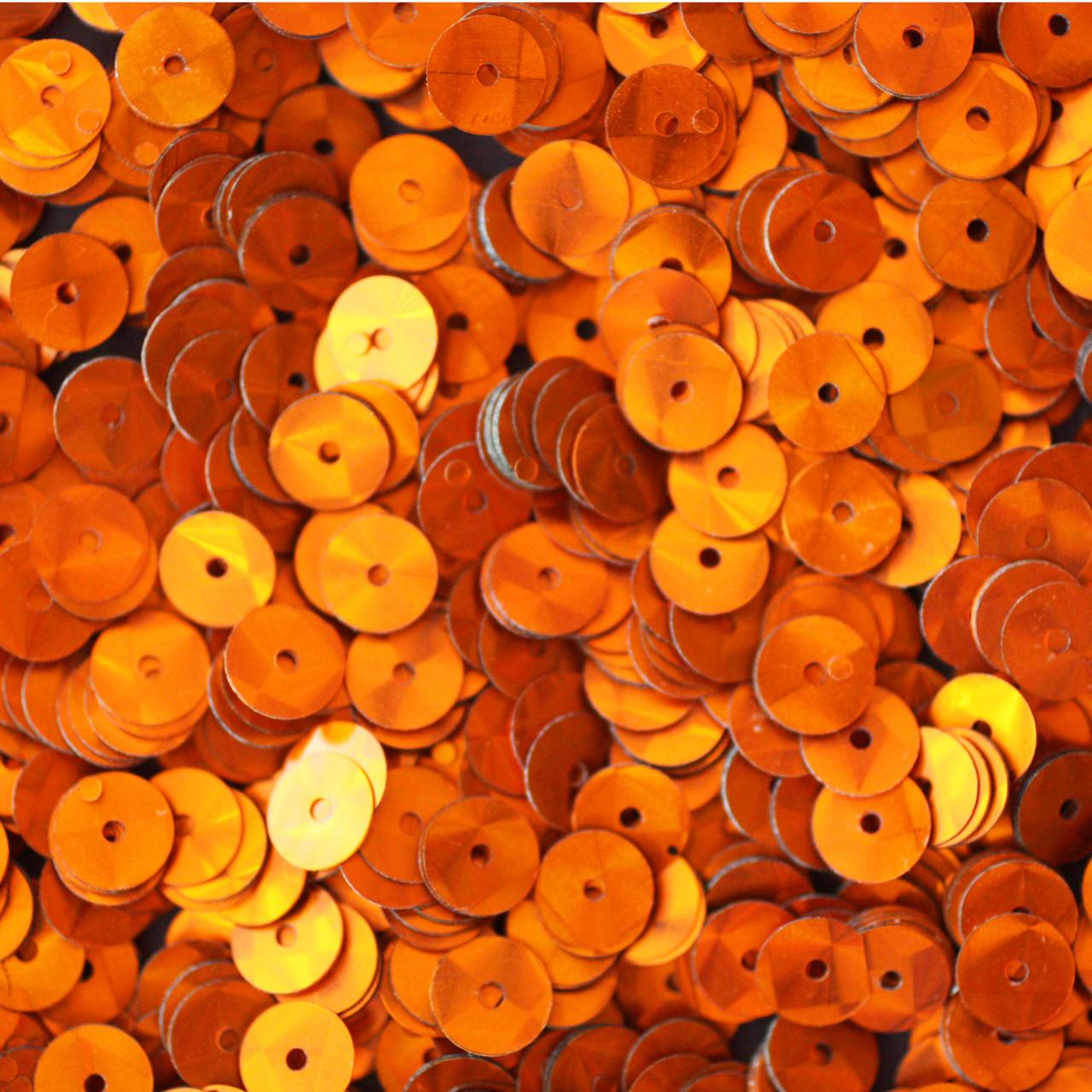 Made in USA 20mm Flat Round Sequin Paillettes Orange Prism Metallic