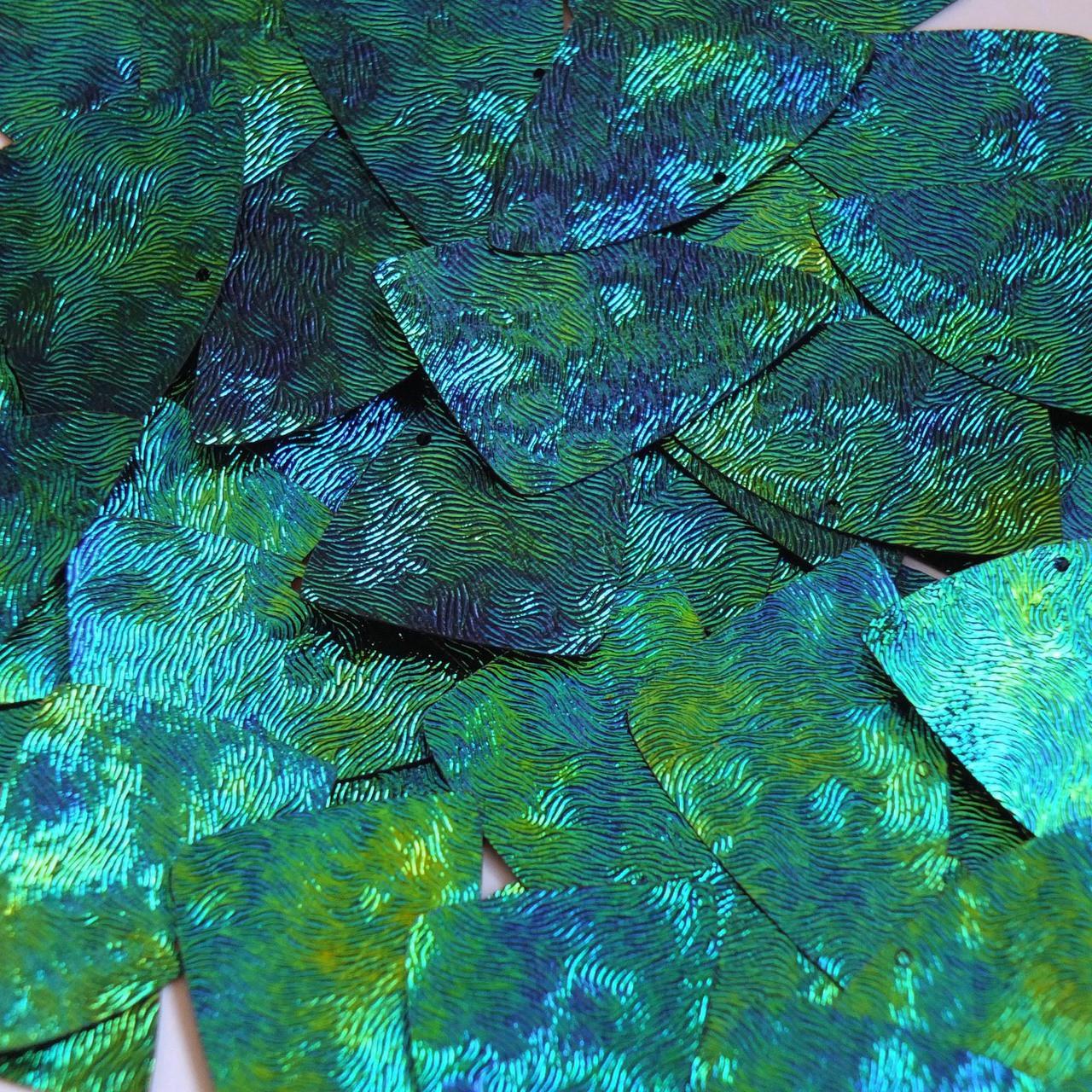 "Fishscale Fin Sequin 1.5"" Van Gogh Starry Night Blue Green Embosssed Swirl Texture"