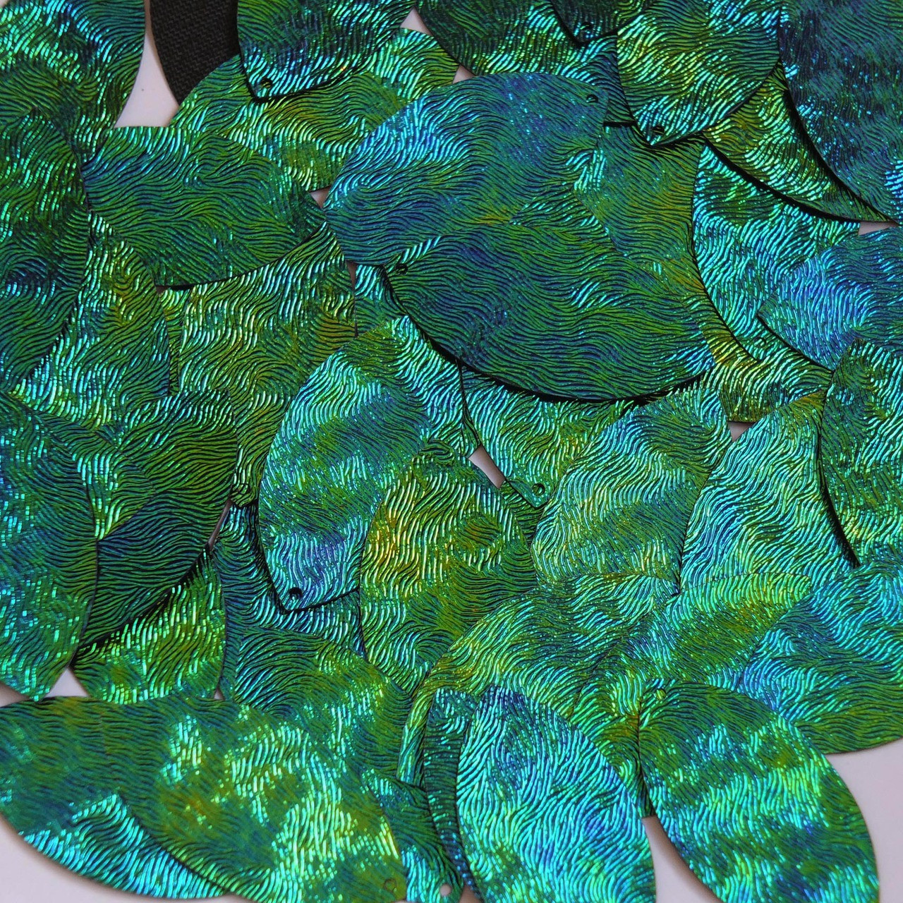 Teardrop Sequin Starry Night Blue Green Swirl Texture 1.5 inch Couture Paillette