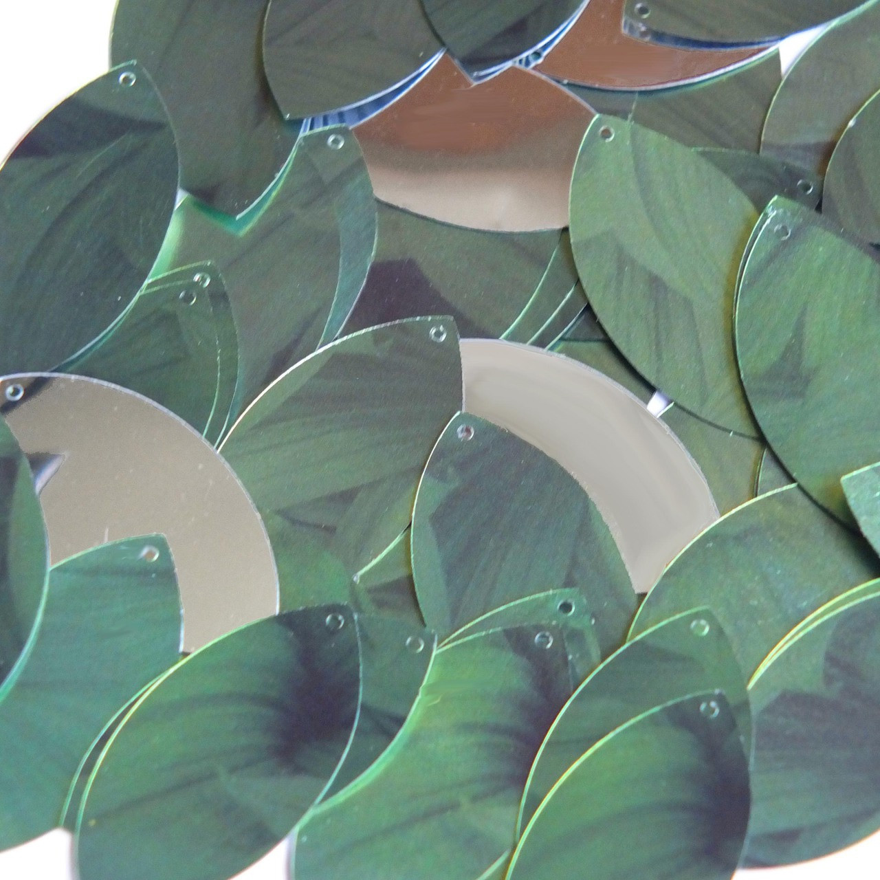 Green Navette Leaf Sequins Metallic Shiny 1.5 inch Couture Paillettes