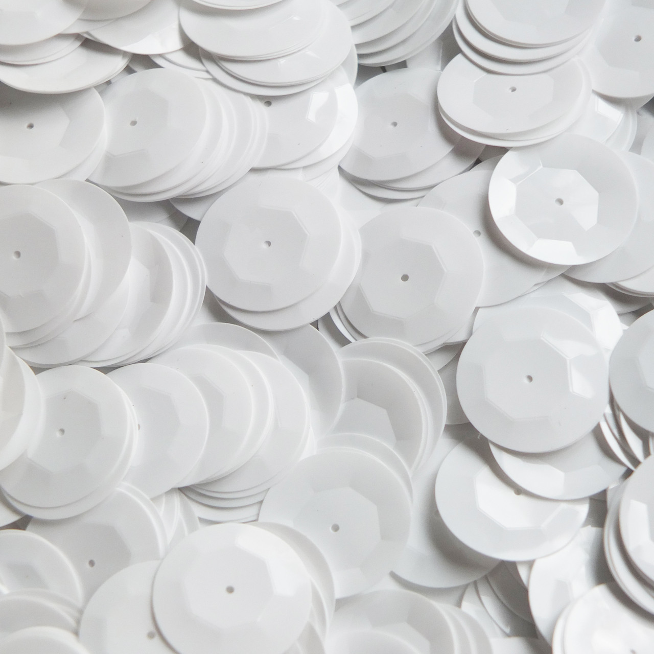 20mm Cup Sequins White Opaque Shiny