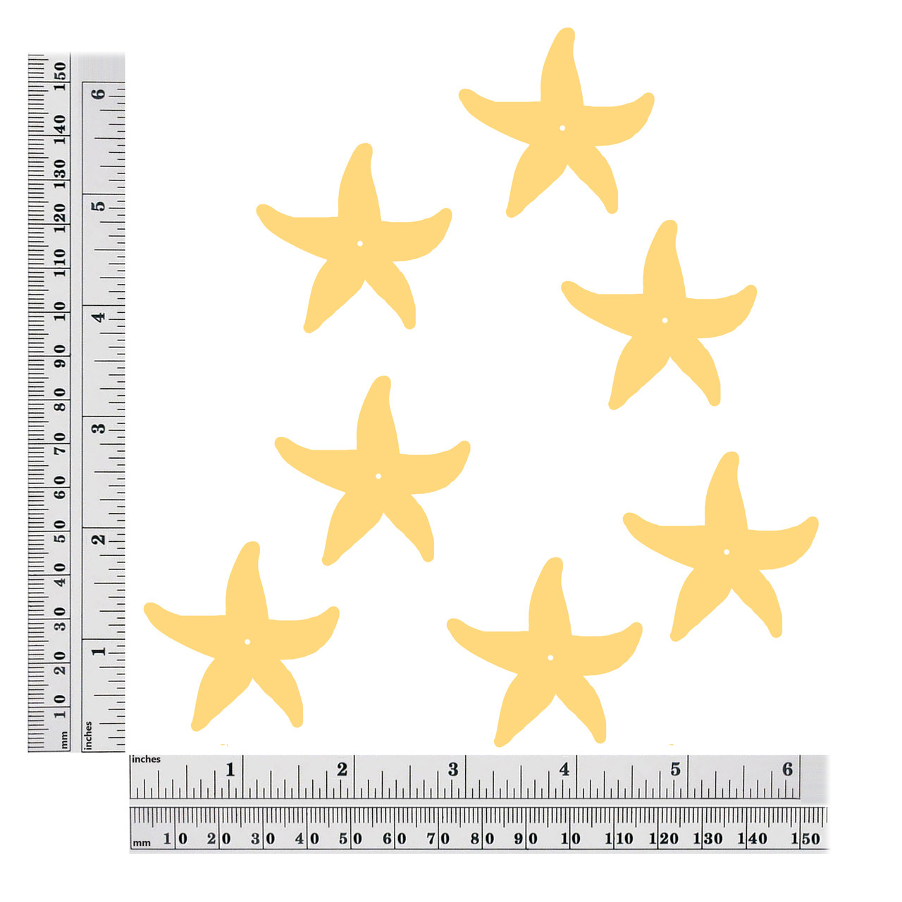 starfish center hole sequin size chart