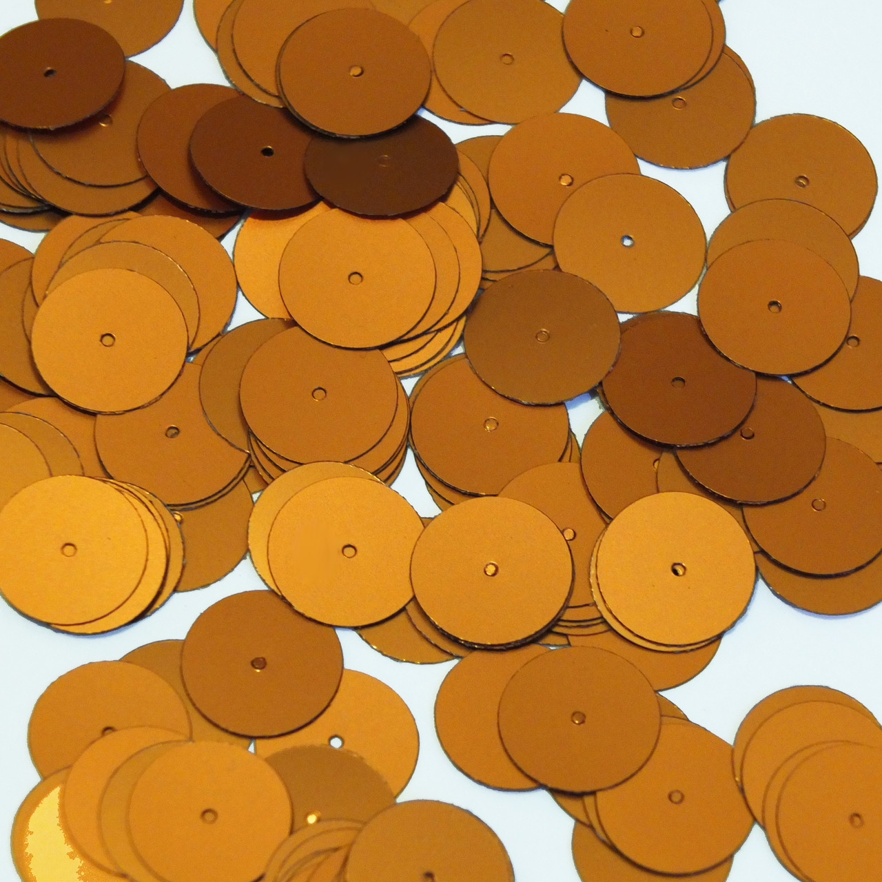 Round Sequin 15mm Orange Matte Satin Metallic Couture Paillettes