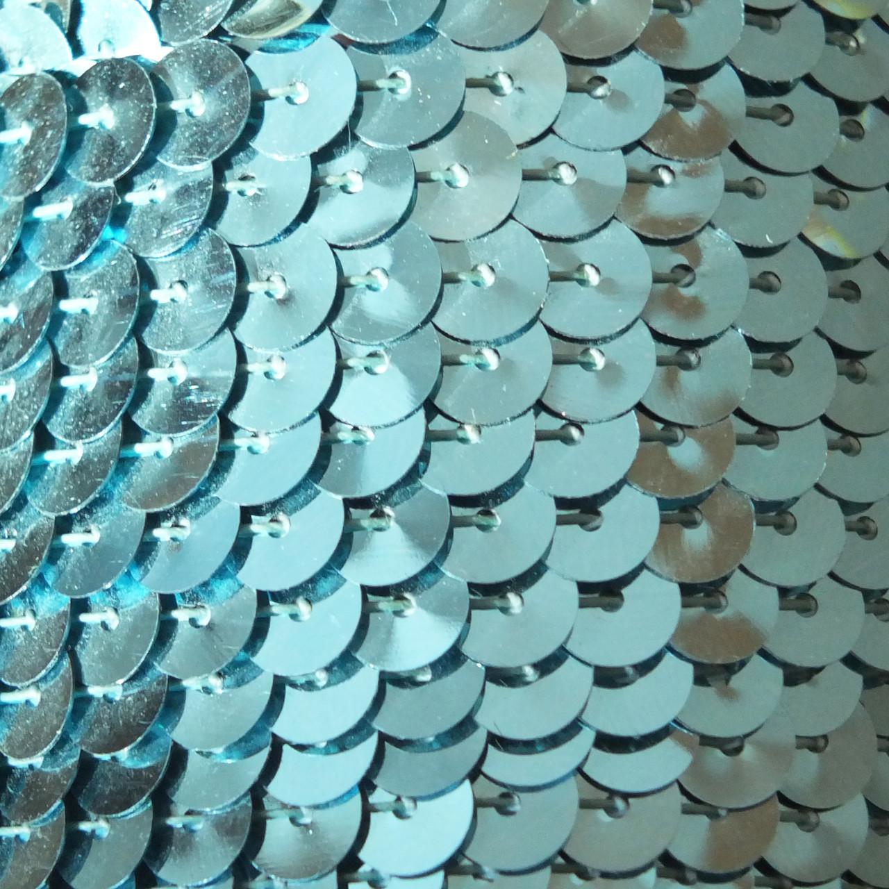 6mm Flat Round Sequin Trim Light Aqua Blue Shiny Metallic