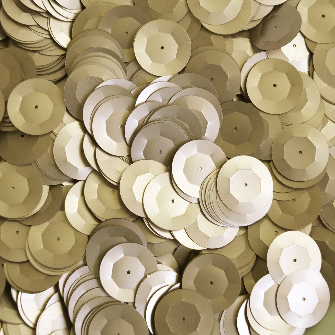 20mm Cup Round Sequins Gold Matte Silk Frost