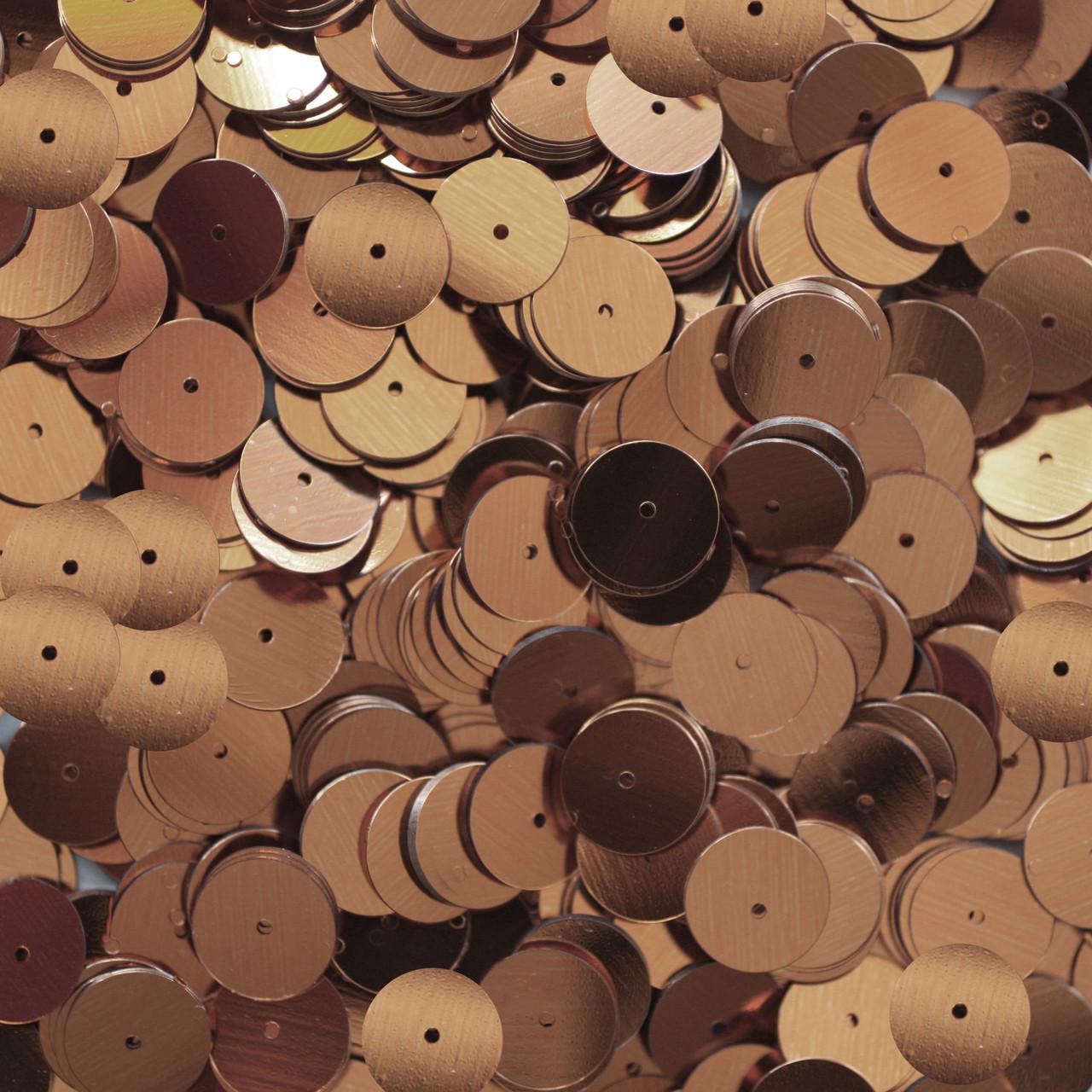 10mm Flat Round Sequins Copper Shiny Metallic