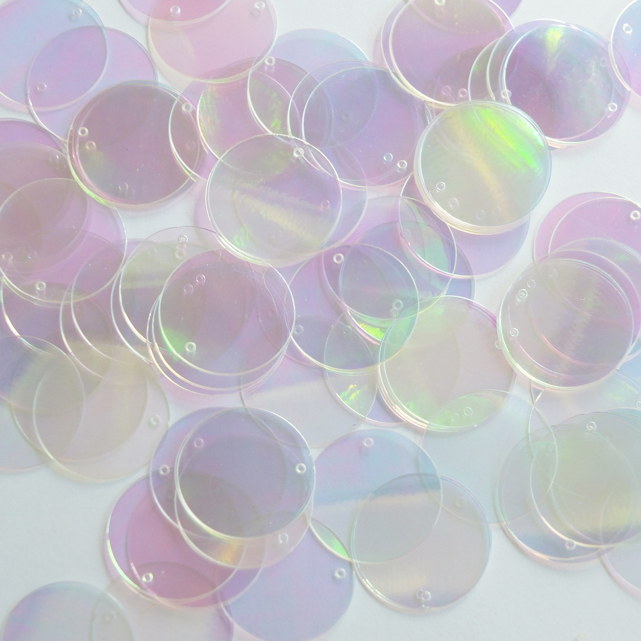 Made in USA Sequin Paillettes  20mm flat round  Pink Frost Rainbow Iridescent