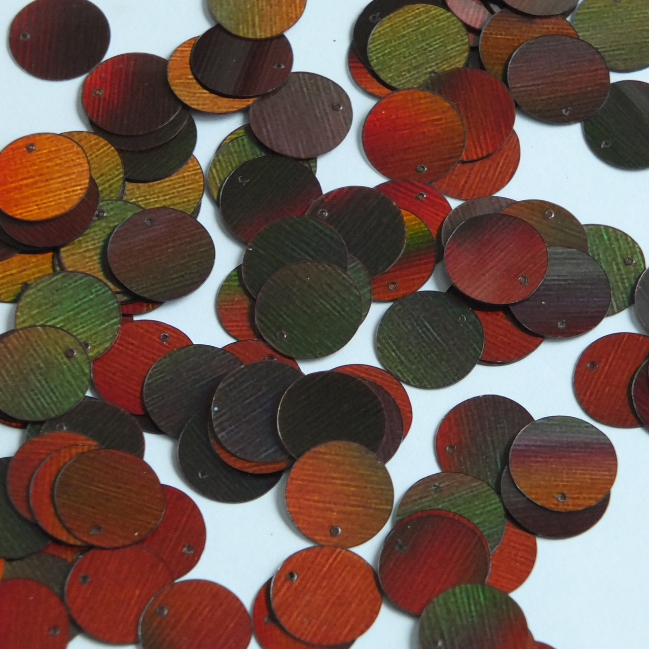 Round Sequin Paillettes 12mm Top Hole Bronze Brown Lazersheen Reflective Metallic