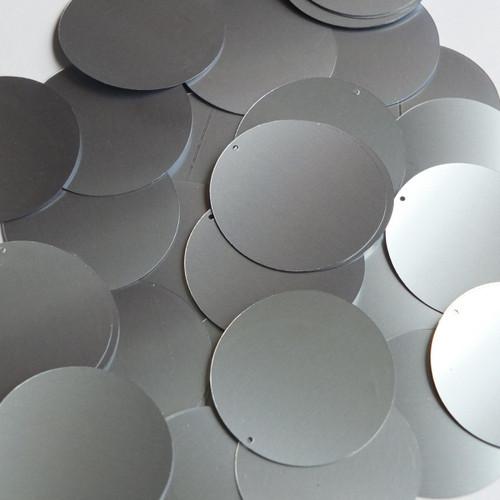 """1.5"""" Sequins Steel Silver Gray Metallic"""