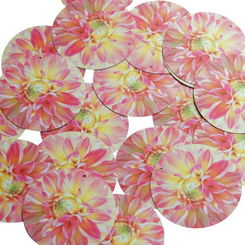 "1.5"" Sequins Dahlia Pink Peach Floral Flower Opaque"