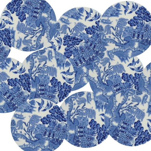 "1.5"" Sequins Blue Willow China Pattern Opaque"