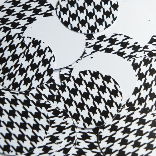 "1.5"" Sequins Black White Houndstooth Pattern Opaque"