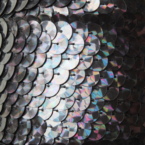 Sequin Trim 10mm Black Galactic Prism Metallic