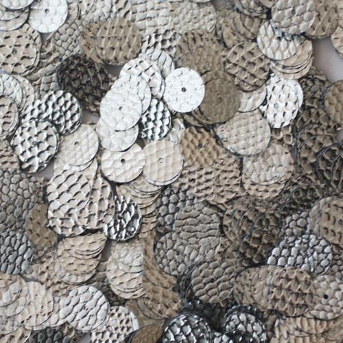 10mm Sequins Silver Snakeskin Nugget Effect Metallic